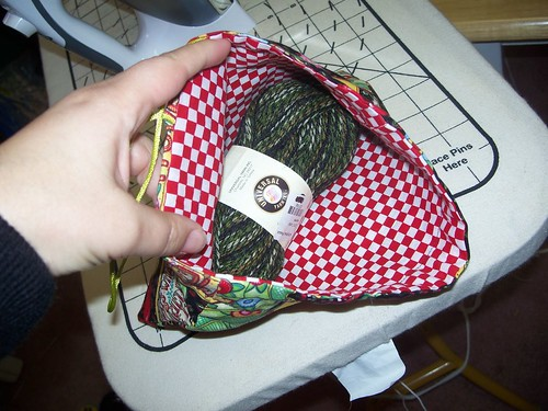pouch with yarn