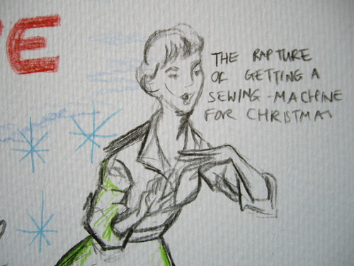 Sewing machine advertisement drawing by Felicity Ford