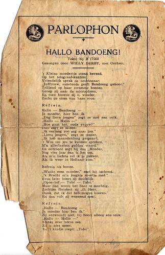 Hallo Bandoeng! Willy Derby bladmuziek