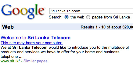 Screenshot of Google Search Results for Sri Lanka Telcom showing the google Malware warning
