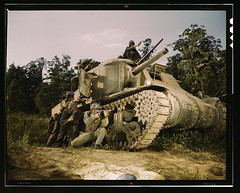 M-3 tank and crew using small arms, Ft. Knox, ...