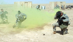 soldiers simulating a chemical attack
