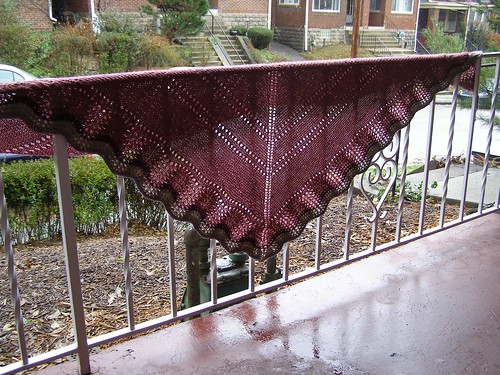 feather and fan triangle shawl