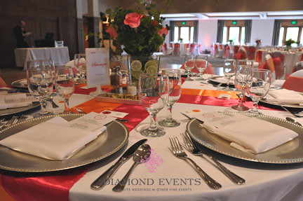 Tablescape at the German Club by Diamond Events in pink and orange