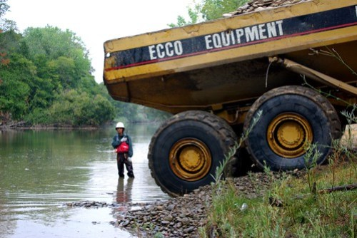 Articulated Hauler ready to dump spawning gravel