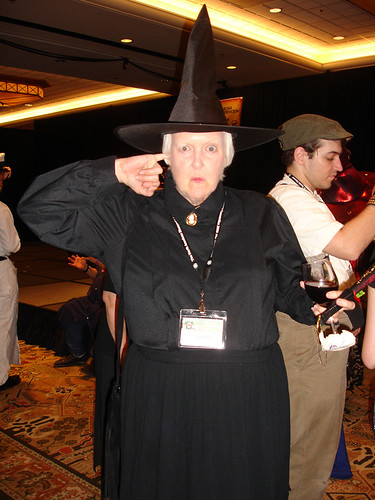 Granny Weatherwax cleaning her ear