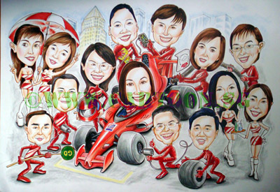 Formula one Singapore Race cartoon caricature