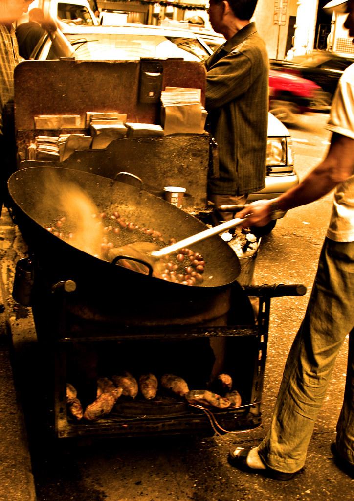 roasting chestnuts in Hong Kong