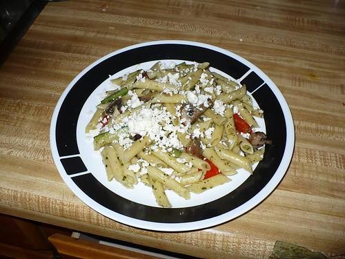 Penne with Veggies, Pesto, and Feta
