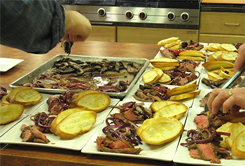 assembling crostini plates