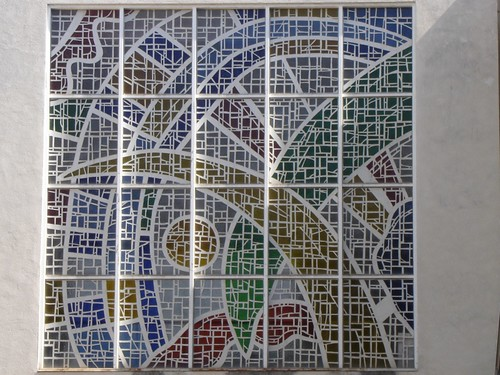 Stained glass mosaic from the outside