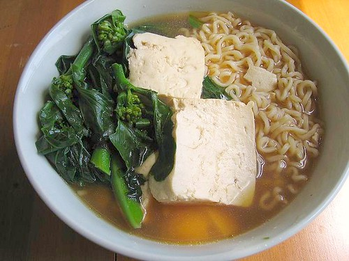 ramen with tofu and gai lan (Chinese Broccoli)