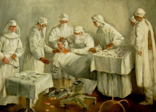 Early Painting of Neck Surgery (No Gloves!)