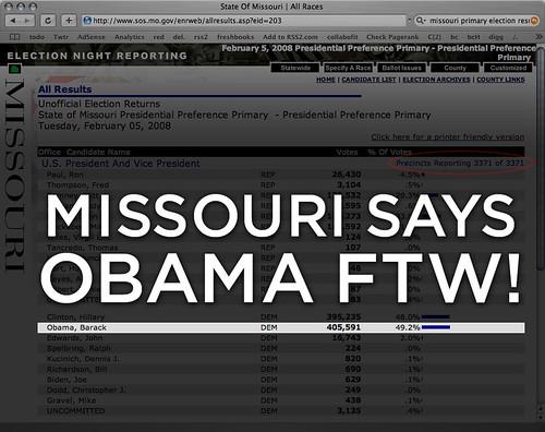 Missouri Says Obama FTW!