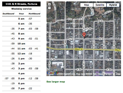 Redwood Transit System Stop times at 11th & N Streets, Fortuna