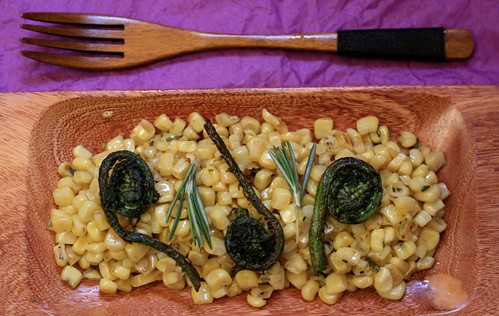 Fiddlehead Ferns and Corn