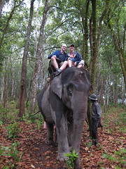 Carrie and I atop an elephant