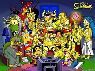 Los Simpsons se transforman en los Caballeros del Zodiaco.