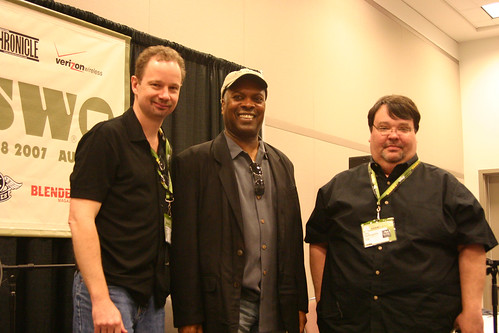 Greg Kot (left) and Jim DeRogatis (right) with Booker T Jones