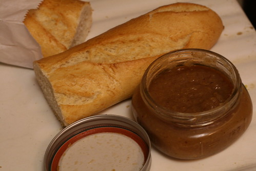 Pear butter and baguette
