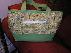 finished knitting bag