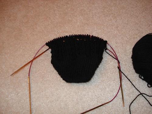 Beginning of Black Hemp Sock