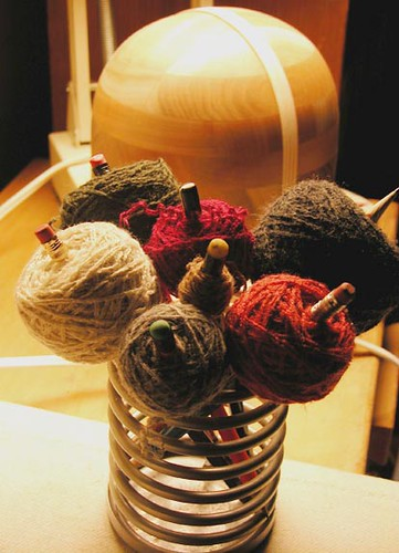 A sleeve's worth of yarn lollipops