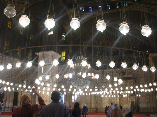 Inside the Muhammad Ali Mosque, the lights of which are arranged in a mathematical algorthm (above).