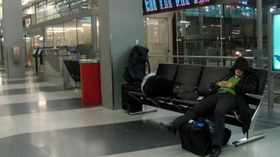 People sleeping at Chicago O'Hare