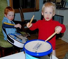 Jake on guitar, Joey on drums