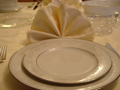 Dinner napkin folded at place setting