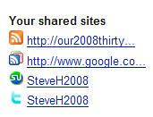 Friendfeed - My Shared Sites