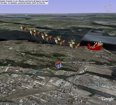 Santa flying over Beacon Hill