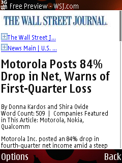 Google Mobile view of the WSJ