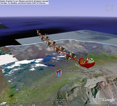 Santa flying over Galapagos