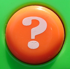 Orange Question Mark Button by jhhwild