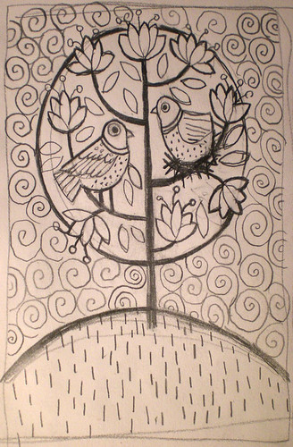Sketch for two doves in a tree