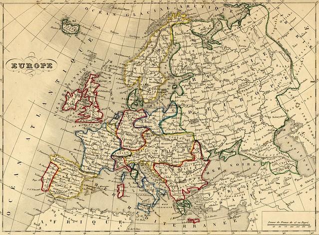 carte ancienne - Europe (Alexandre Vuillemin - 1843)