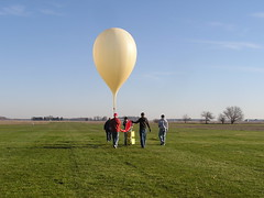 Pre-launch operations will full balloon as well as the attached control and payload boxes.
