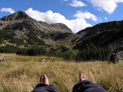 Почивка преди последното изкачване за деня