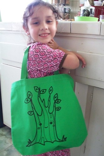 nat and her green 'eco' bag