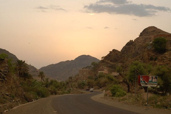 Sunset in the mountains of Western Yemen