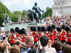 Guards marching towards Buckingham Palace