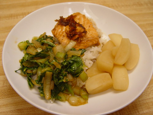 Tokyo turnips braised in soy sauce, mirin, sugar, and water; bok choy with soy sauce and garlic; teriyaki salmon.