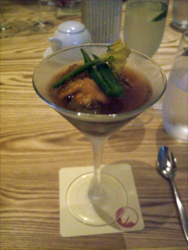 Uni, Ikura, and Abalone Cold Kelp Soup Cocktail Style by bloompy