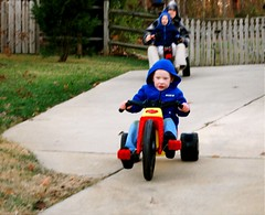 Jake speeding down the hill on his new ride