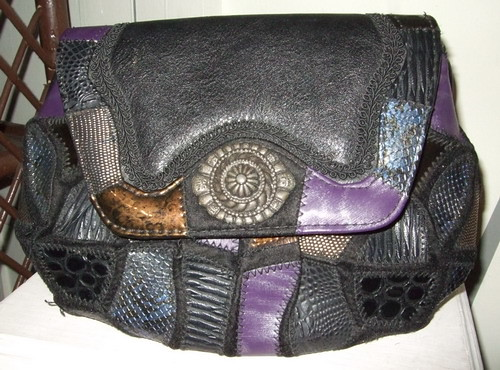 Vintage Handbag Purple Leather patch