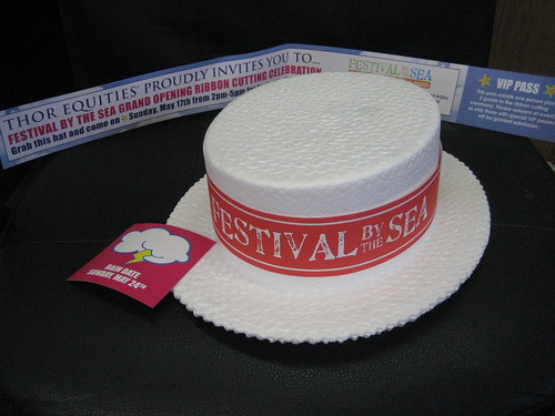 Anon VIP Invite, including styrofoam straw hat, sits forlornly on chair, unused....Thor Equities Festival by the Sea Opening on May 15 and Ribbon Cutting Ceremony on May 17... POSTPONED!