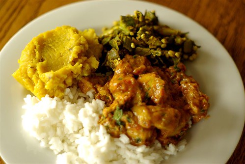 chicken-tomato curry, dal, okra and rice