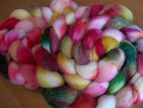 Hand painted Yarn Love roving